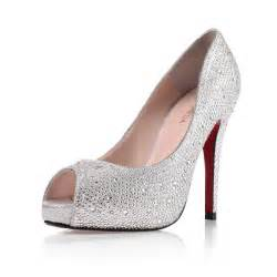 discount wedding shoes high heel peep toe rhinestone prom silver wedding shoes cheap flowerweddingshoes