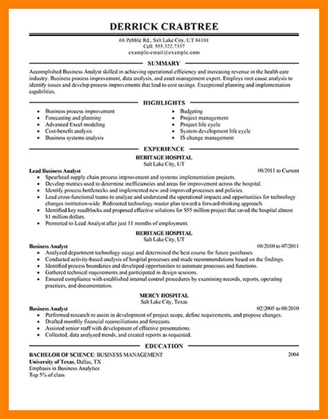 business analyst resume exles best resumes