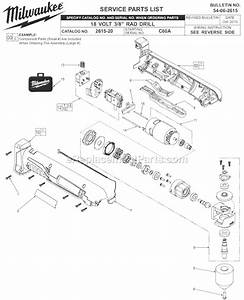 Milwaukee 2615-20 Parts List And Diagram