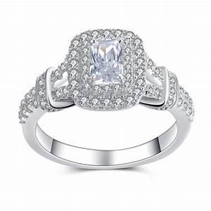 Women's Emerald Cut White Sapphire Sterling Silver ...