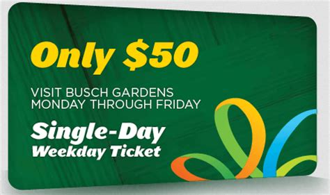 busch gardens tickets seaworld 50th celebration 50 weekday tickets available