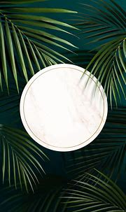 Round golden frame on a tropical background vector ...