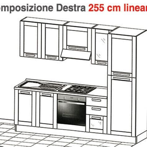 piani cottura lineari cucina l 255 cm lineari cucine a prezzi scontati