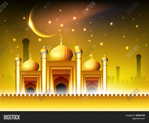 Golden Mosque Wallpaper by Golden Mosque Masjid Vector Photo Free Trial Bigstock