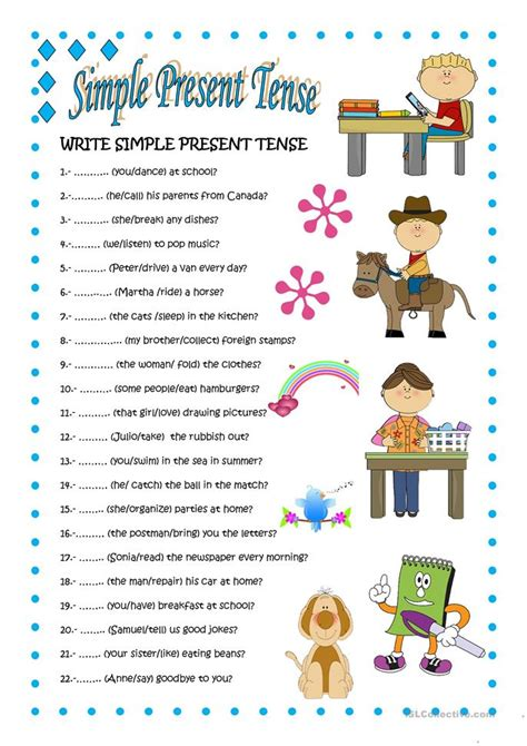 simple present tense  worksheet  esl printable