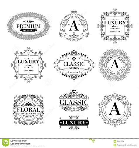 marque cuisine luxe luxury logo template ornament labels set stock vector
