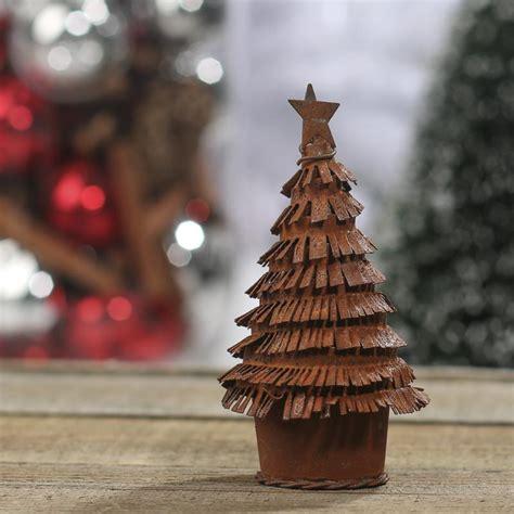 small rusty tin christmas tree figurine table shelf decorations christmas and winter