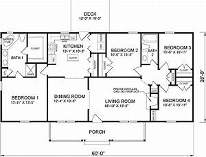 Ranch Style House Plan 45467 with 4 Bed, 2 Bath in 2020 ...