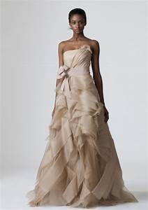 strapless beige vera wang a line wedding dress onewedcom With wedding dresses beige color
