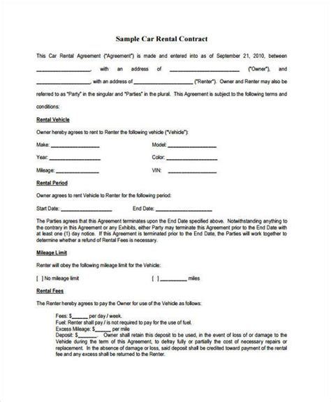 rent contract form samples  sample