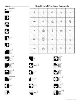 negative and fractional exponents color worksheet by aric thomas