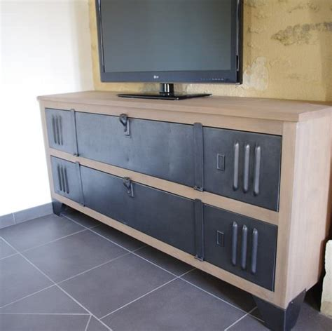 relooker un bureau en bois meuble tv buffet bois metal industriel sur mesure fab