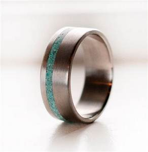 mens wedding band titanium and turquoise ring by With mens silver and turquoise wedding rings