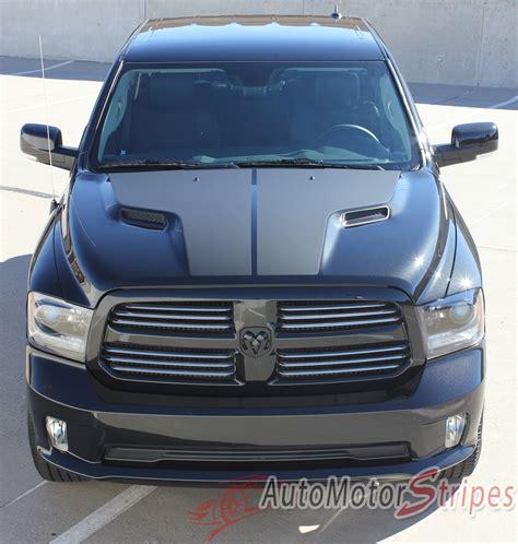 dodge ram hemi hood blackout accent solid center winged viny auto motor stripes