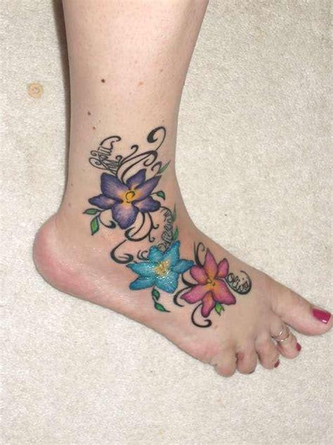 flower tattoos  foot