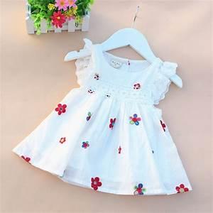 2016 summer cotton newborn baby dress print baby girl clothes fly sleeve infant princess dress ...