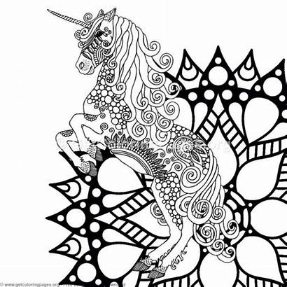 Unicorn Coloring Zentangle Getcoloringpages Birthday Mandala Coloriage
