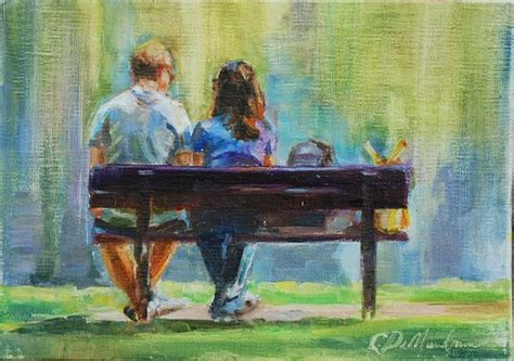 Figurative Painting Couple On Park Bench Couple Painting