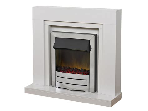 Adam Madison Fireplace Suite In White With Colorado Chrome