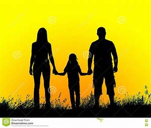 Silhouette Father, Mother And Daughter Holding Hands At ...