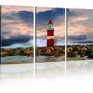 Kunstdruck Auf Leinwand : leuchtturm bild auf leinwand landschaft bilder sturm wandbild kunstdruck ~ Eleganceandgraceweddings.com Haus und Dekorationen