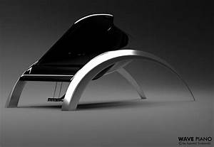 Elegant, Glossy Wave Piano Design Inspired by Waves - Tuvie