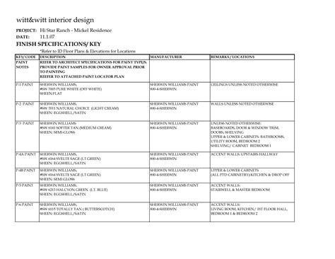 Home Interior Quotation Format : Interior Finish Schedule Template