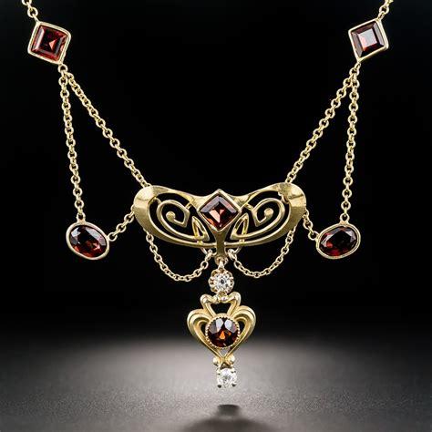 art nouveau garnet  diamond necklace vintage jewelry