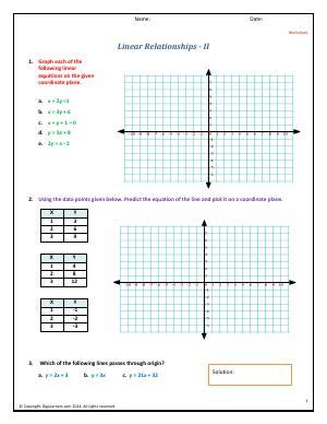 linear relationships equations fourth grade math worksheets biglearners