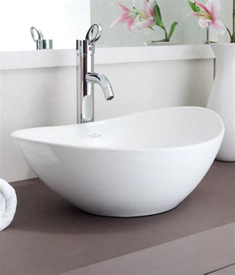 buy hindware table top basin essence white