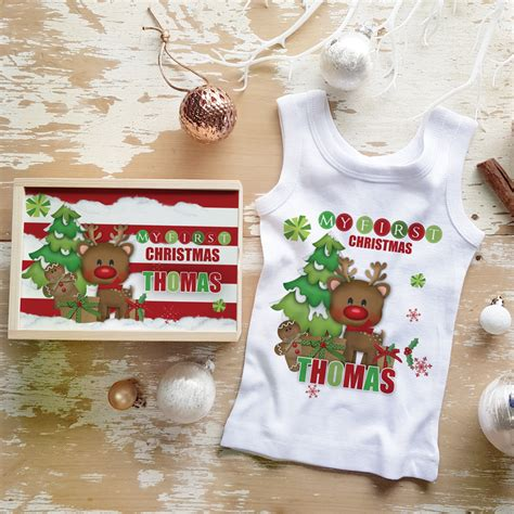 personalised my first christmas or christmas baby gift set