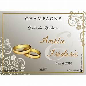 Etiquette Champagne Mariage : tiquettes personnalis es champagne avec alliance ~ Teatrodelosmanantiales.com Idées de Décoration