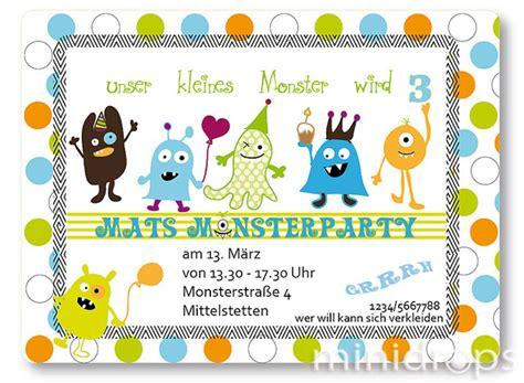 einladungskarten einladung kleine monster party