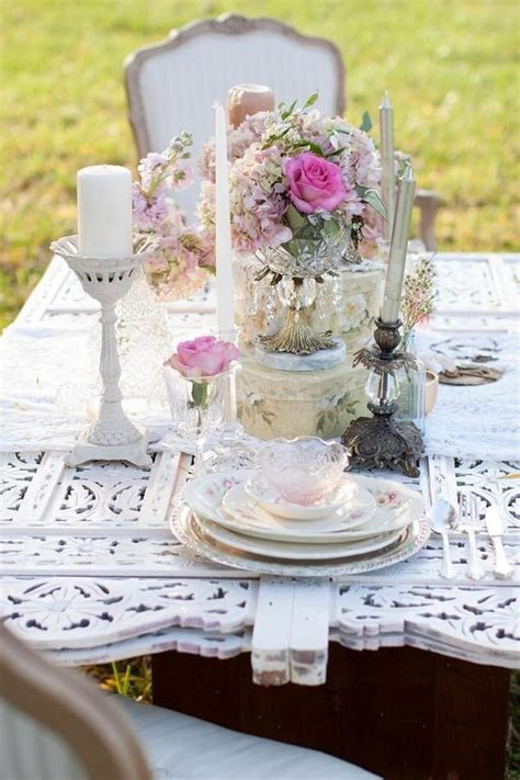 shabby chic wedding table settings pink shabby chic wedding table setting 2032820 weddbook
