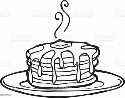 Pancakes Pancake Vector Clipart Line Delicious Illustrations