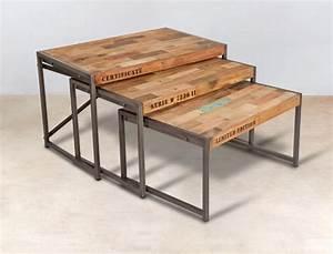 Table Gigogne Industriel : table de salon gigogne 3 tables basses gigogne dolmen ~ Teatrodelosmanantiales.com Idées de Décoration