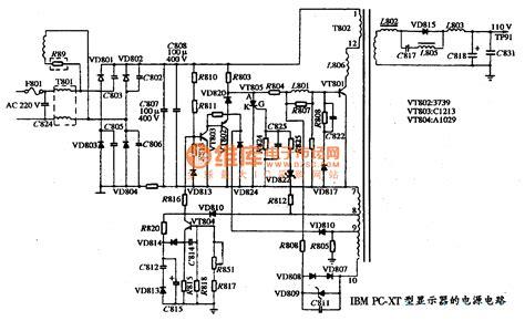 the power supply circuit diagram of ibm pc xt type display