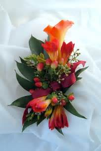 wrist corsage corsage wristlet calla freesia orange burgundy fall