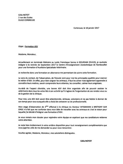 Lettre De Cv by Modele Lettre De Motivation 2017