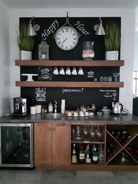This coffee and wine bar cabinet is design for the corner of the home and also open to the other sections of the home. 33 Popular Small Home Bar Design Ideas | Coffee bar home ...