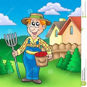 Jardin Dessin Couleur : fermier de dessin anim sur le jardin images stock image ~ Melissatoandfro.com Idées de Décoration
