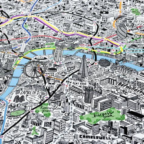 hand drawn map  london print  evermade