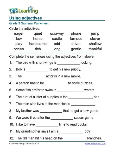 Grammarworksheetgrade3adjectivessentences1pdf