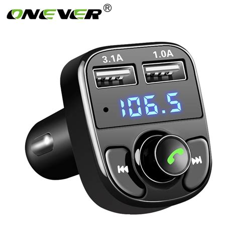 fm transmitter auto onever fm transmitter aux modulator bluetooth car kit car audio mp3 player with 3 1a