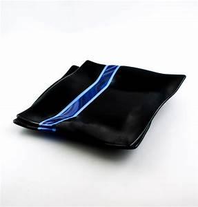 Buy Handmade Black And Blue Fused Glass Dinnerware Set