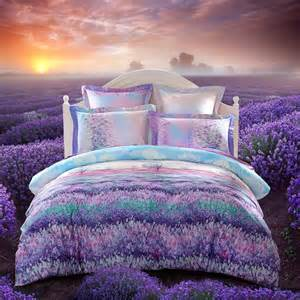 purple blue and green provence garden images lavender flower print full queen size luxury satin