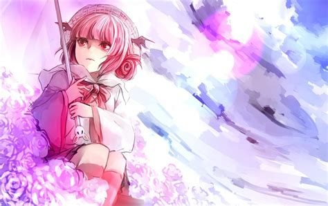 anime girl art umbrella flowers pink wallpaper