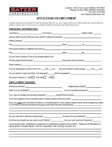 Construction Employment Application Template by Free Printable Application Forms 5 Pt
