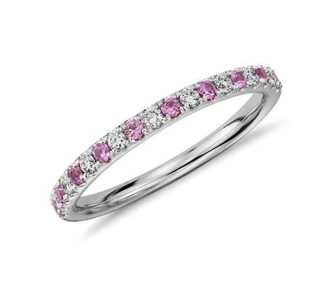 riviera pave pink sapphire  diamond ring   white