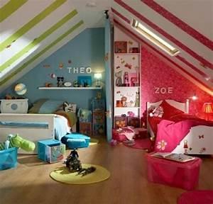 Kinderzimmer Für Zwei : kinderzimmer dachschr ge einen privatraum erschaffen f r zwei kinder kinderzimmer f r ~ Frokenaadalensverden.com Haus und Dekorationen